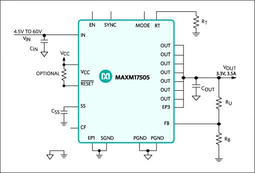 Типичная схема приложения на чипе MAXM17505