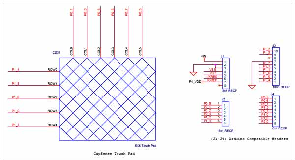 Схема принципиальная электрическая шилда Trackpad