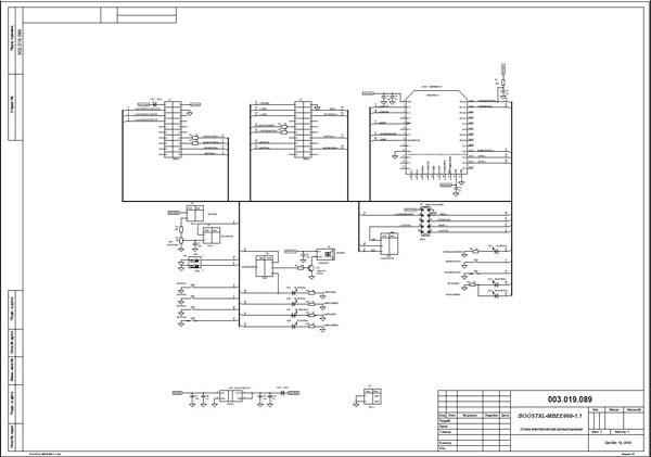 Схема принципиальная электрическая демонстрационной платы BOOSTXL-MB868-1.1