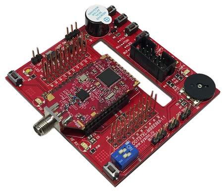 Демонстрационная плата BOOSTXL-MB868-1.1 с установленным RF модулем MBEE-868-2.0