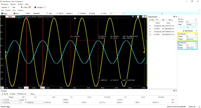 Работа Analog Discovery Studio в режиме осциллографа с бесплатным ПО Waveforms