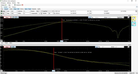 Отображение экрана анализатора импеданса Analog Discovery Studio с использованием бесплатного программного обеспечения WaveForms