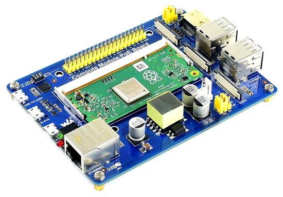 Отладочная плата Compute Module PoE Board с установленным вычислительным модулем