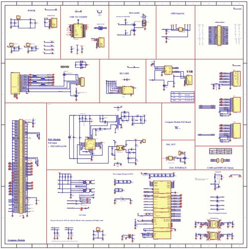 Схема принципиальная электрическая платы Compute Module PoE Board