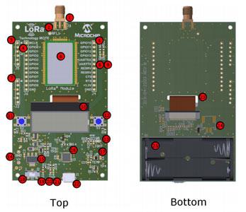 Плата DM164138 (RN2483 LoRa® Technology Mote) и ее основные компоненты