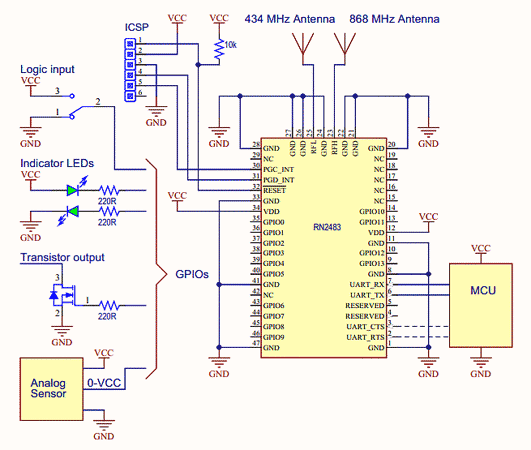 Типичная схема включения модуля RN2483