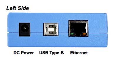 Разъем питания, USB и Ethernet находятся с левой стороны модуля