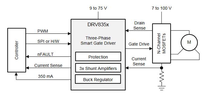 Упрощенная схема включения драйвера DRV8350