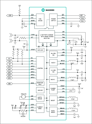 Типичная схема приложения для чипа MAX20303