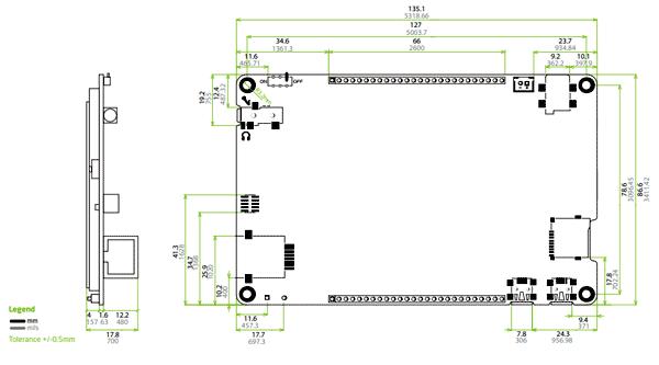 Размеры платы Mikromemdia 5 для TivaTM (MIKROE-1504)