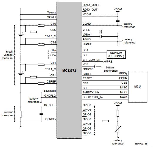 Упрощенная схема приложения для MC33772B при использовании SPI интерфейса