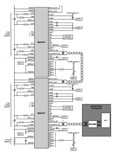 Упрощенная схема приложения для MC33772B при использовании TPL