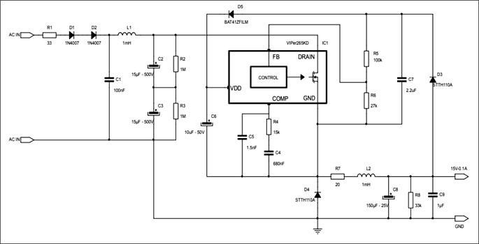 Схема принципиальная электрическая оценочной платы STEVAL-VP26K01B