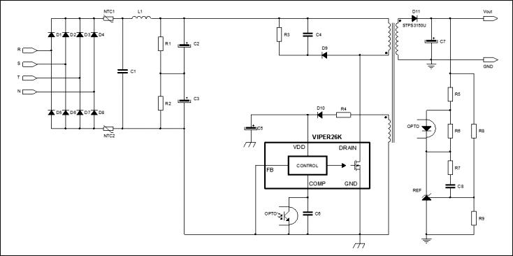 Типичная схема приложения для чипа VIPER26K