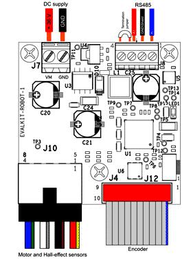 Подключения к плате набора EVALKIT-ROBOT-1
