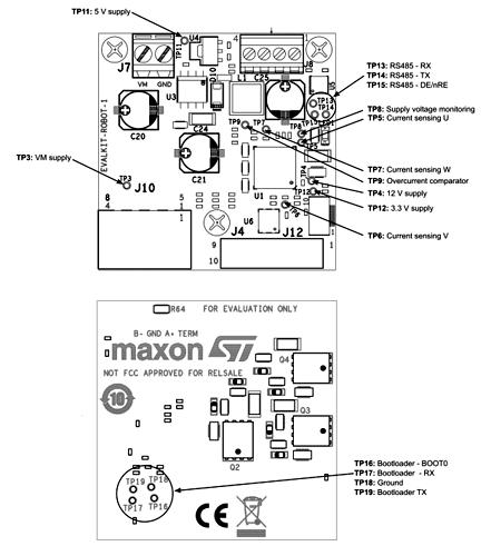 Расположение тестовых точек на плате набора EVALKIT-ROBOT-1