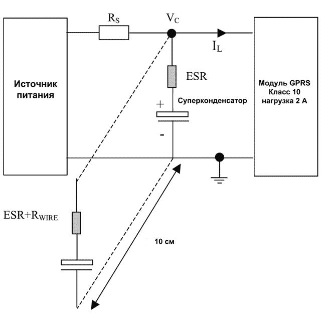 Схема испытания эффективности суперконденсатора