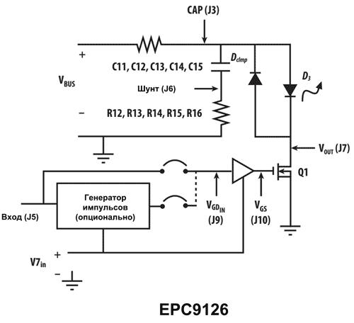 Структура отладочной платы EPC9126 от EPC