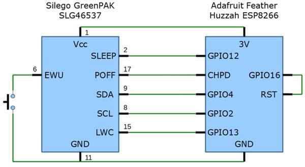 Подключение GreenPAK к отладочной плате Huzzah Adafruit Hushah ESP8266
