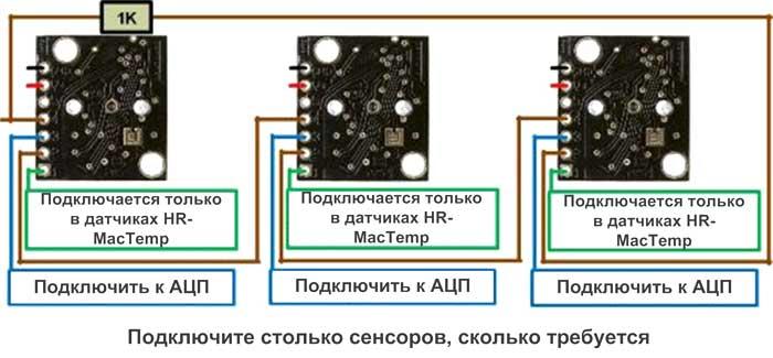 Диаграмма последовательного включения датчиков HRLV-MaxSonar-EZ для выполнения зацикленных измерений