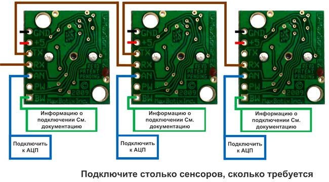 Диаграмма последовательного включения датчиков LV-MaxSonar-EZ и XL-MaxSonar-EZ/ AE