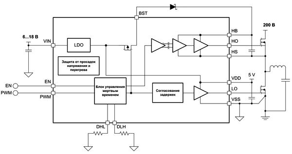 Типовая схема включения драйвера LMG1210