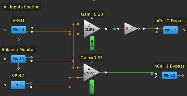 Балансировка ячеек. Схема внутренней конфигурации микросхемы SLG46537V