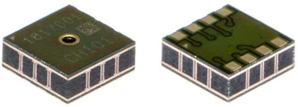 Размеры датчиков CH-101 и CH-201 составляют всего 3,5 x 3,5 x 1,25 мм