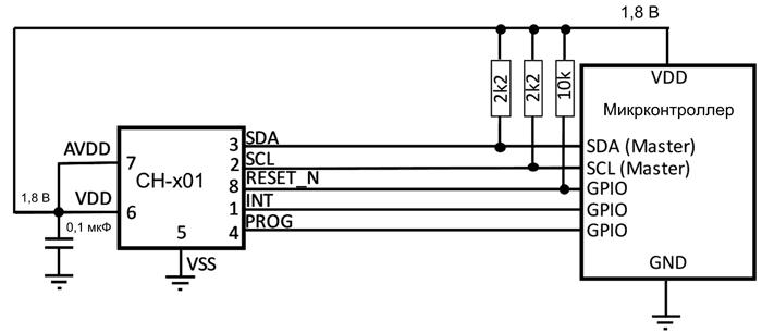 Типовая схема включения датчиков CH-101 и CH-201