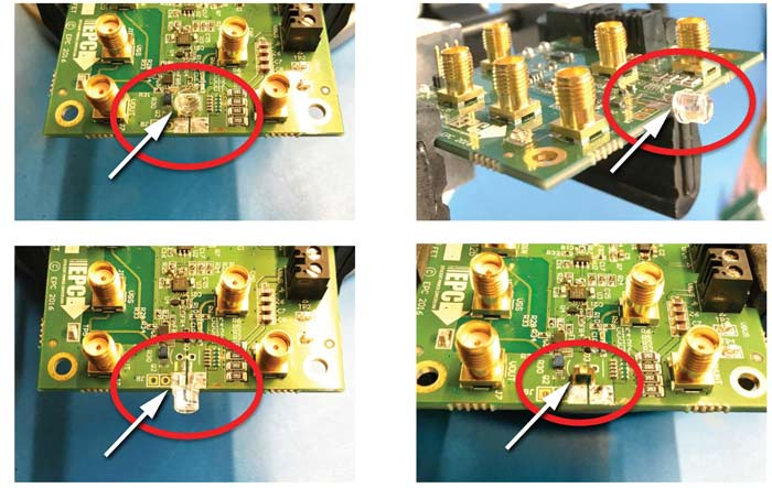 Примеры монтажа лазерных диодов на плате драйвера EPC9126xx