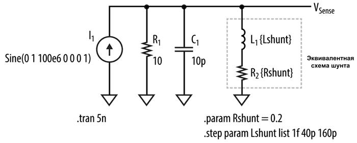 Схема моделирования для демонстрации влияния шунта на форму сигналов