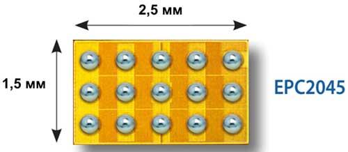 eGaN-транзистор EPC2045 с рейтингом напряжения 100 В и сопротивлением канала 7 мОм