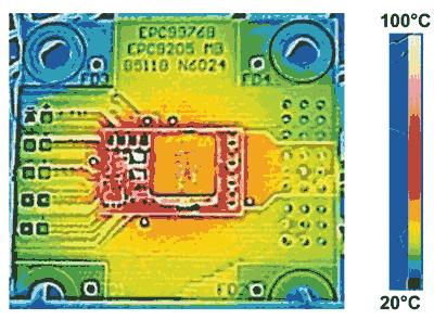 Разогрев силового транзистора модуля EPC9205 в DC/DC-преобразователе 48/12 В при токе 10 А и потоке воздуха 400 LFM