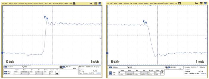 Осциллограммы напряжений при коммутации силовых ключей в EPC9205
