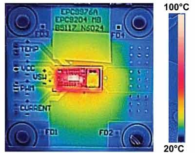 Разогрев силового транзистора модуля EPC9204 в DC/DC-преобразователе 12/1 В при токе 10 А и потоке воздуха 300 LFM