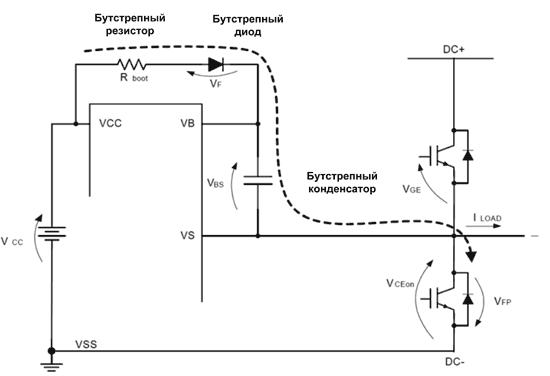 Построение бутстрепнолй цепи в схеме с дискретными транзисторами