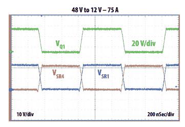 Переключение сигналов при входном напряжении 48 В и нагрузке 900 Вт