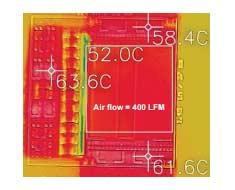 Тепловое изображение преобразователя LLC, работающего с входным напряжением 54 В и нагрузкой 900 Вт