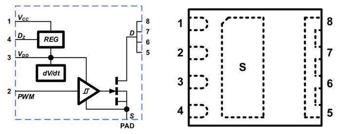 В состав NV611x входит регулятор напряжения и схема управления скоростью изменения dV/dt