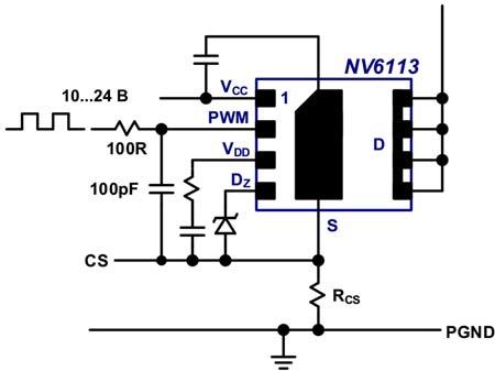 Типовая схема включения NV611x с дополнительным НЧ-фильтром на входе PWM