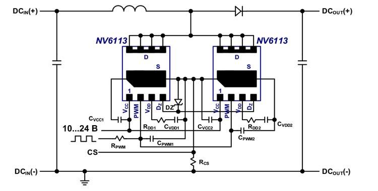 В ряде случаев допускается параллельное включение до двух микросхем NV611x