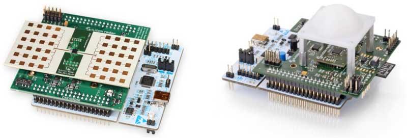 Отладочный набор SiRad Easy® Evaluation Kit поставляется с двумя типами радаров: 24 ГГц (слева) и 122 ГГц (справа)