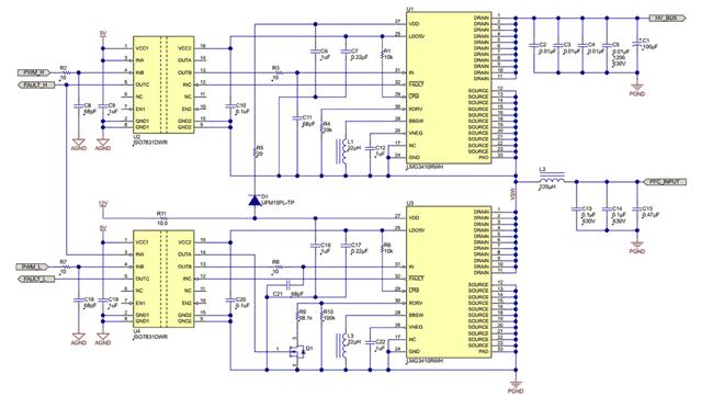 Полумостовая схема на базе двух микросхем LMG3410R070