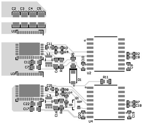 Размещение компонентов на верхнем слое печатной платы
