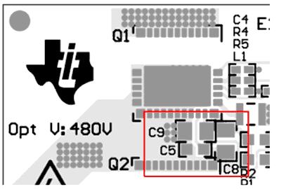 Расположение развязывающих конденсаторов (C9, C5, C8)