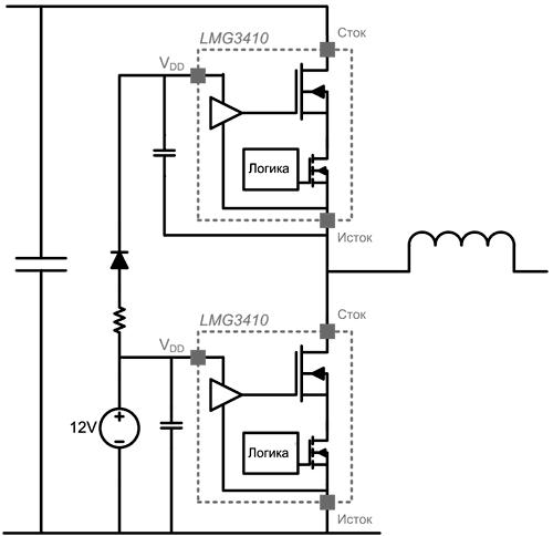 Использование бутстрепной схемы для питания LMG3410x