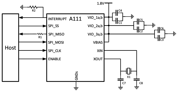 Схема включения радара A111 достаточно проста