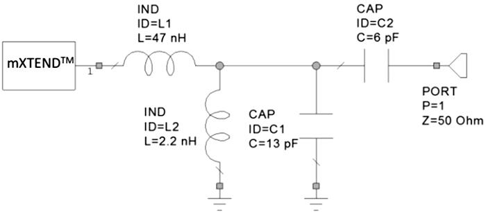 Согласующая цепь, предназначенная для области низких частот (824–960 МГц) и использующая общедоступные компоненты SMD 0402