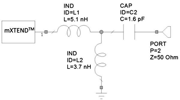 Согласующая цепь, предназначенная для высокочастотной области (1710–2690 МГц) и использующая общедоступные компоненты SMD 0402