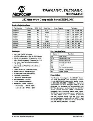 SOIC8 93LC56 IC EEPROM SERIAL 2K MICROCHIP 93LC56B//SN